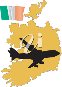 Royalty Free Clipart Image of a Flight to Ireland with the Flag