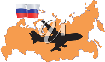 Royalty Free Clipart Image of a Plane Flying Over Russia