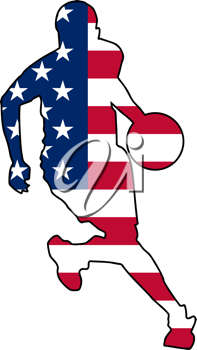 Royalty Free Clipart Image of a Basketball Player in American Flag Colours