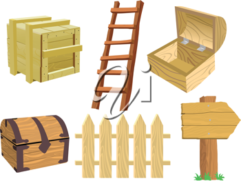 Set of different wooden objects on white
