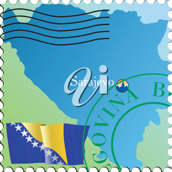 Vector stamp with an image of map of Herzegovina