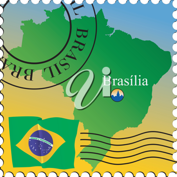 Vector stamp with an image of map of Brazil
