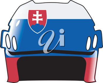 An image of hockey helmet in colours of Slovakia