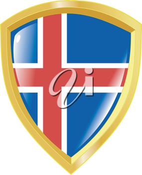 Coat of arms in national colours of Iceland