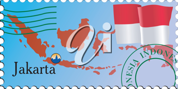 Vector stamp with an image of map of Indonesia