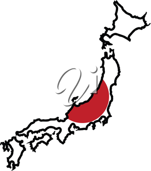 An illustration of map with flag of Japan