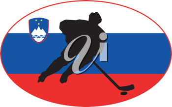 hockey player on background of flag of Slovenia