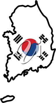 An illustration of map with flag of South Korea