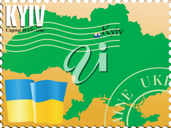 Vector stamp with an image of map of Ukraine