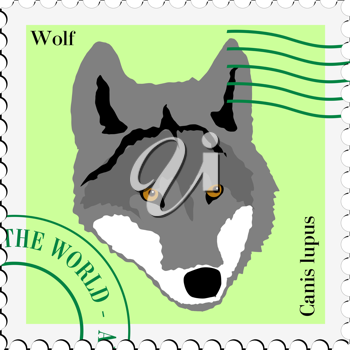 stamp with image of wolf