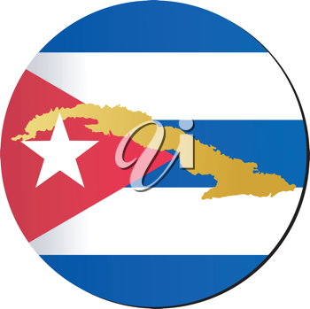 An illustration with button in national colours of Cuba