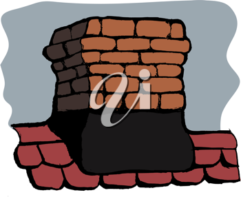 Chimney of a house on background of the sky