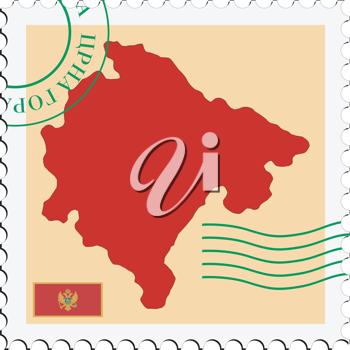 Image of stamp with map and flag of Montenegro