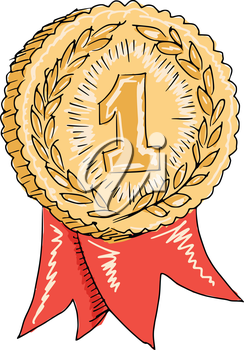 sketch, doodle, hand drawn illustration of gold award