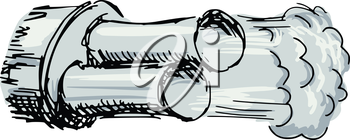sketch, doodle illustration of car exhaust pipe
