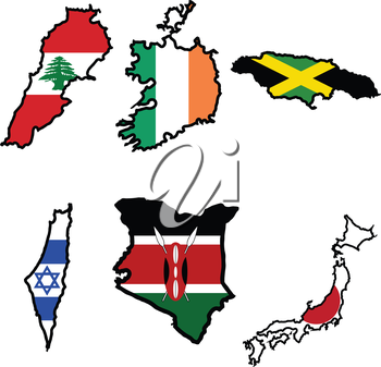 Illustration of flag in map of Ireland,Jamaica,Japan,Kenya,Lebanon