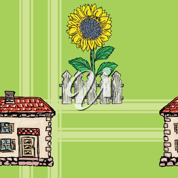 sample of seamless background with village motives