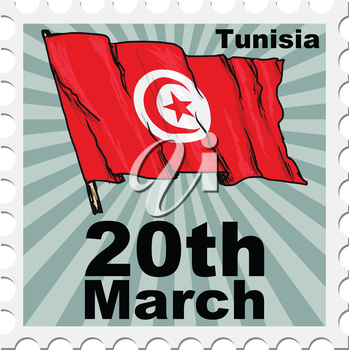 post stamp of national day of Tunisia