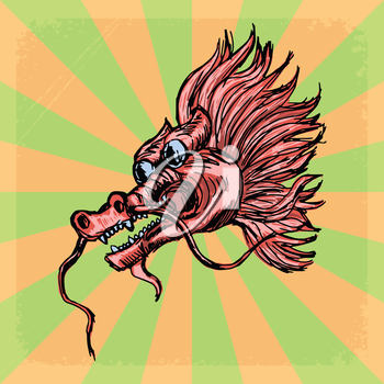 vintage, grunge background with Chinese dragon