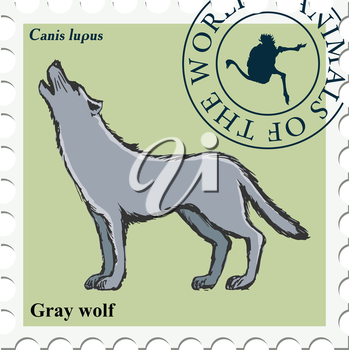 vector, post stamp with wolf