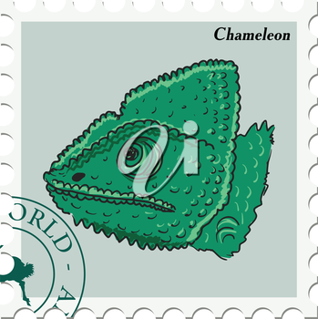 vector, post stamp with chameleon