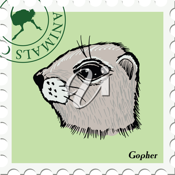 vector, post stamp with gopher