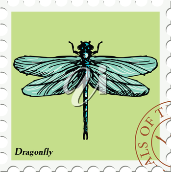vector, post stamp with dragonfly
