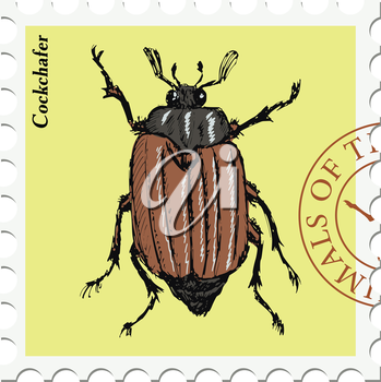 vector, post stamp with cockchafer