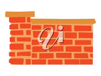 Vector, colored illustration of brick fence. Front view. Motives of architecture, outdoor design, real estate, safety