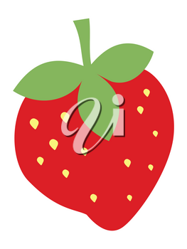Vector, colored illustration of strawberry. Flat style. Motives of sweet food, seasonal berries, desserts and kitchen ingredients