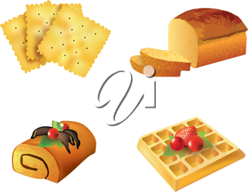 Royalty Free Clipart Image of a Set of Pastry Objects
