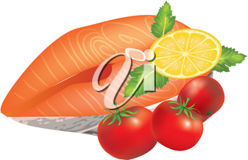 Royalty Free Clipart Image of a Salmon Steak