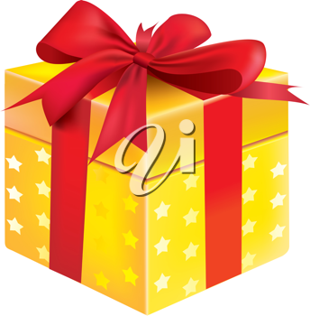 Royalty Free Clipart Image of a Yellow Gift Box
