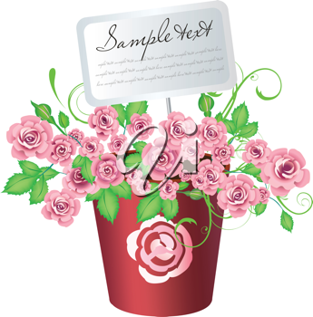Royalty Free Clipart Image of a Pot of Flowers