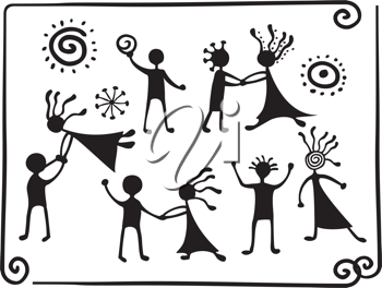 Royalty Free Clipart Image of People Dancing