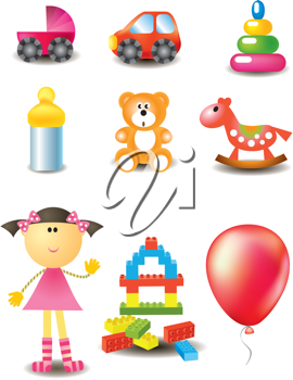 Royalty Free Clipart Image of a Set of Toys