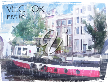 Royalty Free Clipart Image of a Watercolour of Amsterdam