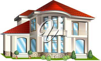 Vector Illustration of а house  with tile roof on a white background