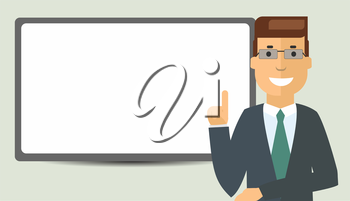 Cartoon Businessman with board for writing