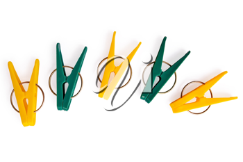 Royalty Free Photo of Yellow and Green Clothespins