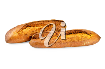 Two loaves of rye bread isolated on white background
