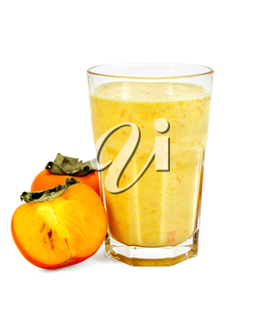 Milkshake in a glass, persimmon isolated on white background