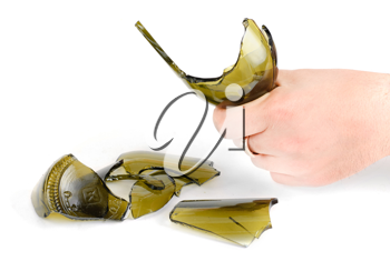 Royalty Free Photo of a Hand Holding a Broken Bottle