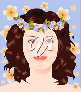 Royalty Free Clipart Image of a Woman With a Flower Headband