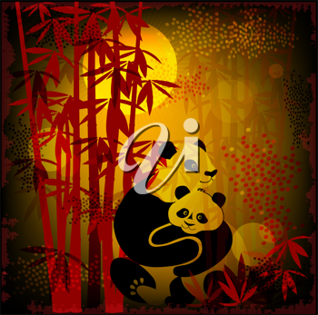 Royalty Free Clipart Image of Pandas in the Forest