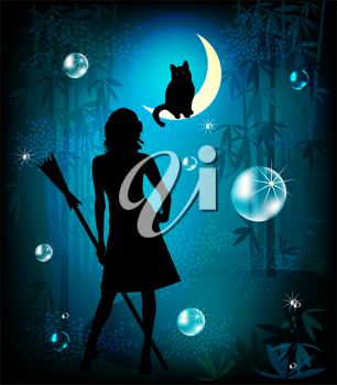 Royalty Free Clipart Image of a Witch and a Cat in the Forest