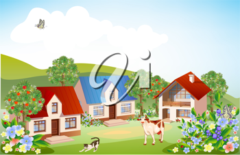 Royalty Free Clipart Image of a Rural Landscape