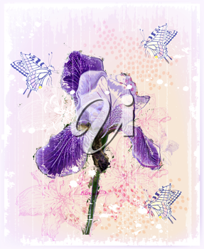 Royalty Free Clipart Image of a Purple Iris