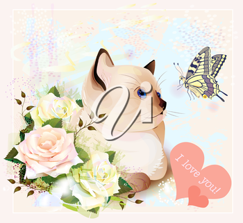 Valentines day greeting card with kitten, butterfly and roses