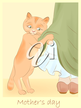 vintage hand drawn greeting card with cat holding girl